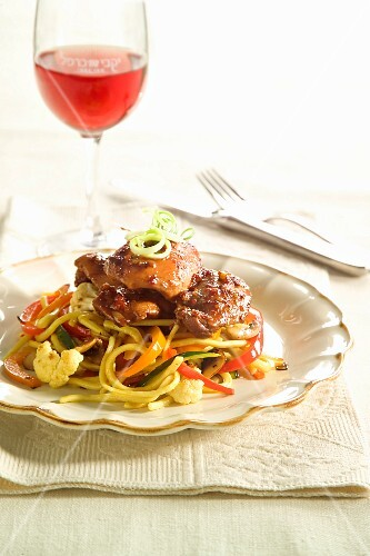 Pasta with vegetables and poussin