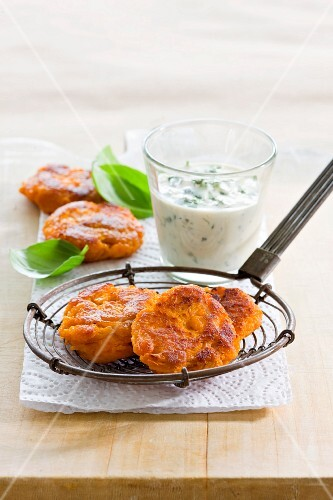 Sweet potato fritters with herb dip