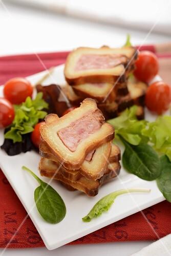 Paté en croute with a salad garnish