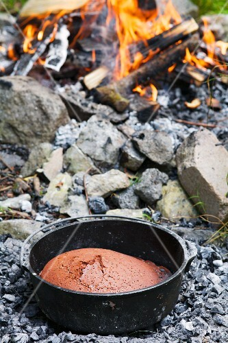Chocolate cake cooked in a Dutch oven