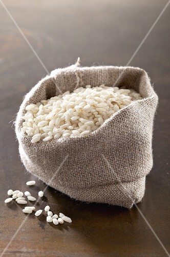 Risotto rice in a small sack