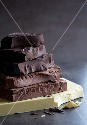 A stack of blocks of cooking chocolate
