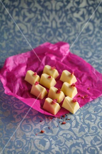 Rose and mirabelle plum chocolates