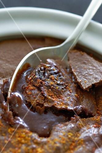 Cocotte Chocolat (chocolate dessert, France) with chilli powder