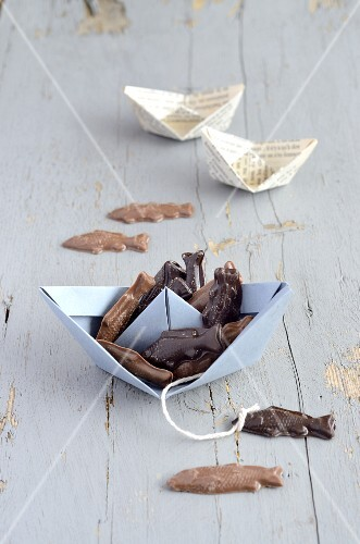 Chocolate fish and paper boats