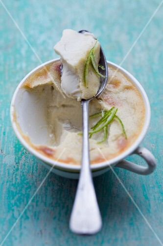 Baked coconut and lime cream dessert
