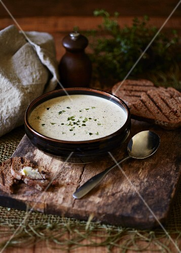 Cream of mushroom soup with grilled bread