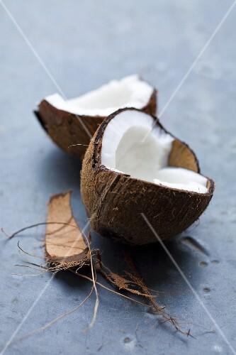 A coconut, broken open