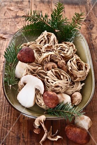Home-made porcini pasta