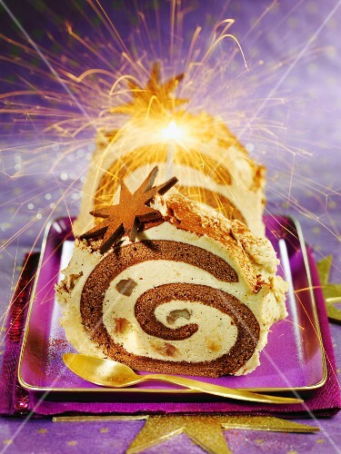 Chocolate roulade with chestnuts, rum and a sparkler