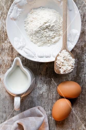 Baking ingredients: eggs, milk, flour