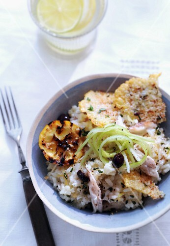 Lemon risotto with mackerel, parmesan wafers and lime zest
