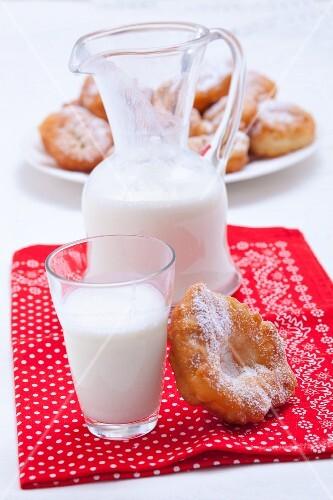 Milk and Bulgarian doughnuts