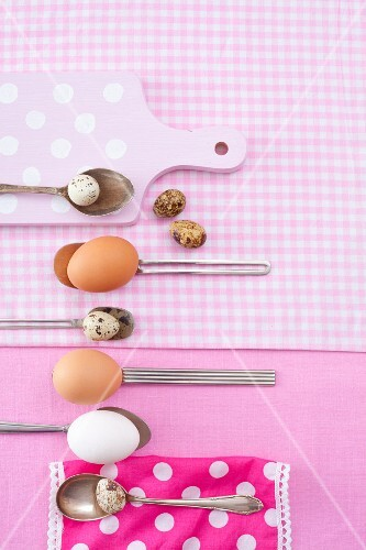 Chicken eggs and quail's eggs on spoons (view from above)