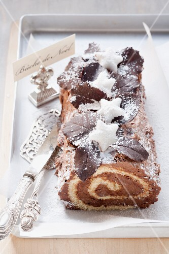 A small bûche de Noël with mocha cream filling