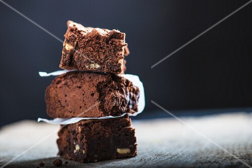 Three brownies, stacked