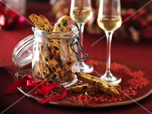 Cantucci biscuits with pistachios and dried cherries