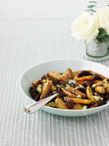 Fingerling potatoes with Stilton and mushrooms