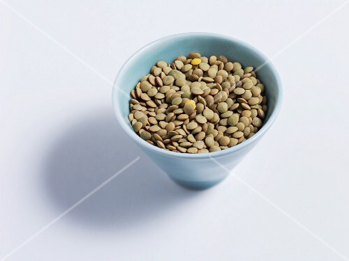 Brown lentils in a dish