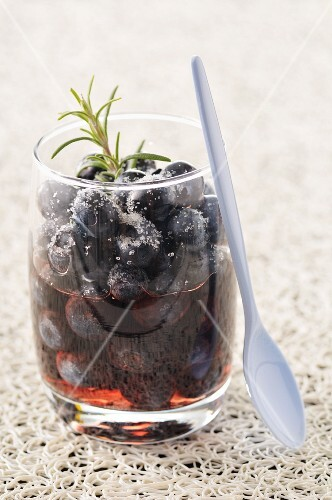 Blueberries in red wine with rosemary