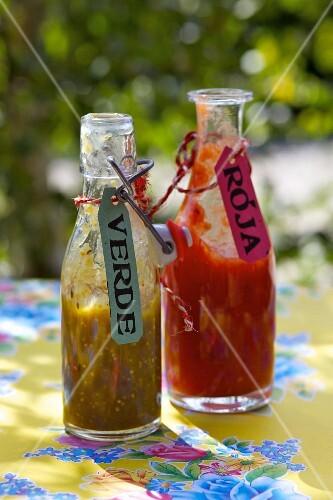 Mexican sauces: salsa verde and salsa roja