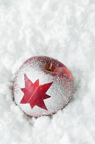 Christmas apple with snow