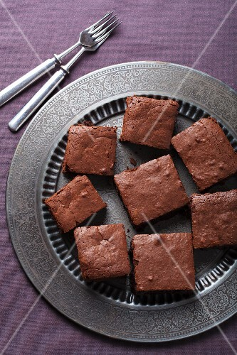 Brownies on a metal plate