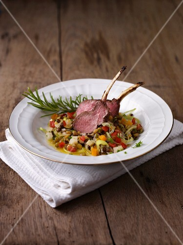 Venison loin chops with vegetables and rosemary