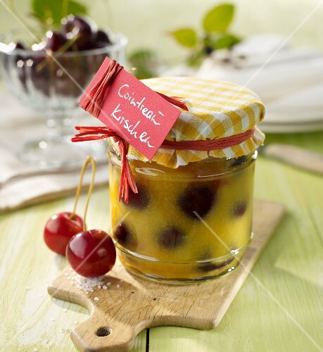 A jar of cherries in Cointreau