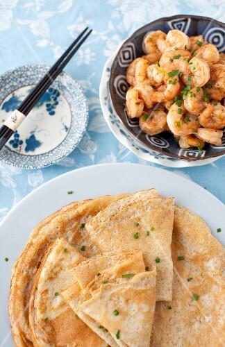 Crepes and Shrimp with Chopsticks