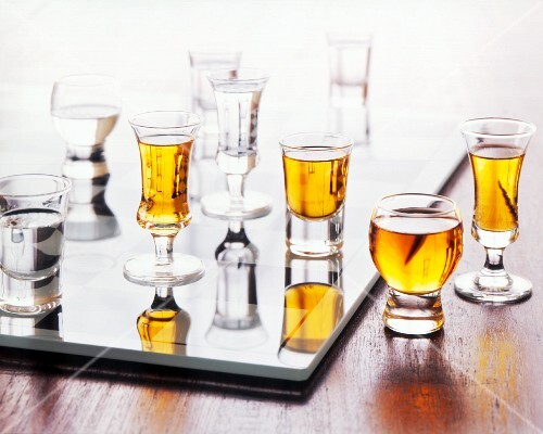 Assorted Shot Glasses with Old Rum