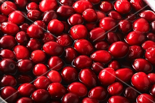 Lots of cranberries in water (filling the image)
