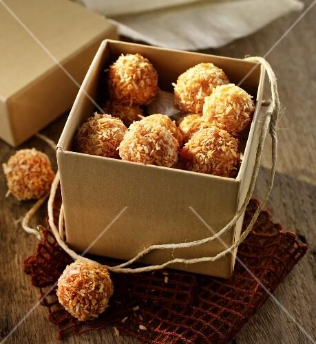 Fruit balls coated in shredded coconut