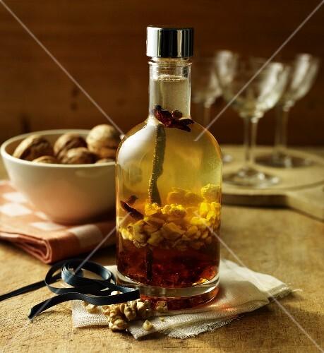 Home-made walnut liqueur