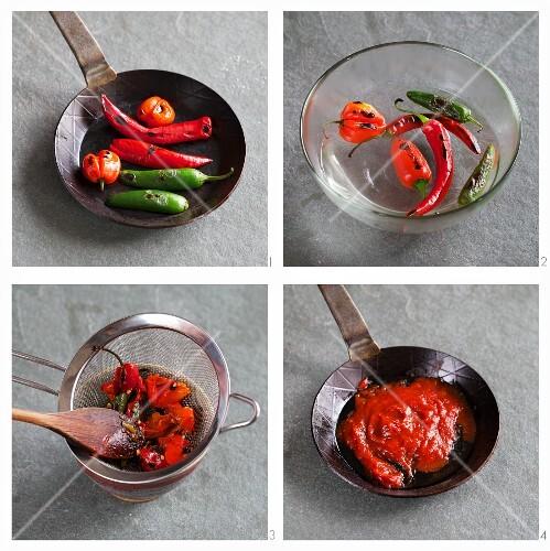 Chilli sauce being prepared