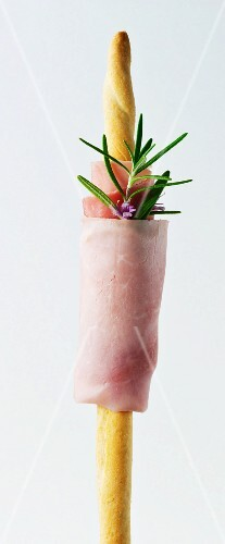 Grissini with ham and rosemary