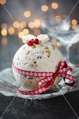 Christmassy ice-cream bombe with candied fruit