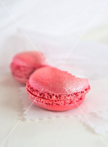 Pink macaroons in paper