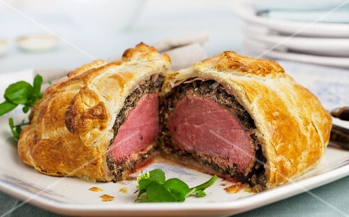 Beef Wellington, cut in half