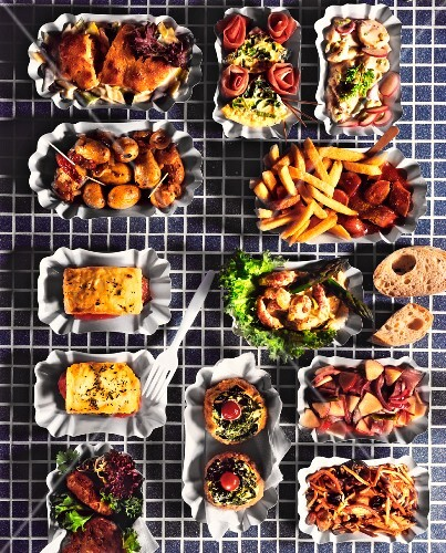 Assorted fast food dishes in cardboard containers