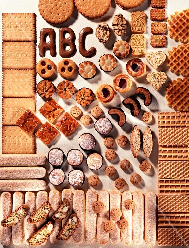 Lots of different biscuits (view from above)