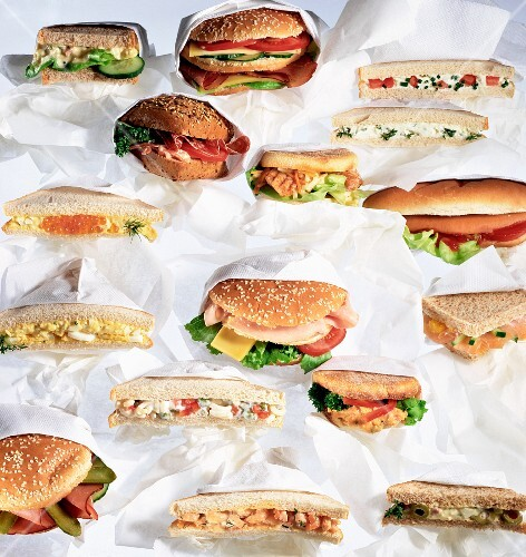Assorted sandwiches and burgers