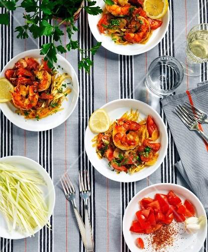 Prawns with tomato salad
