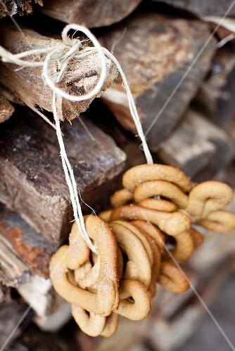 Lumberjack Cookies (Molasses Cookies) Hanging on a Woodpile