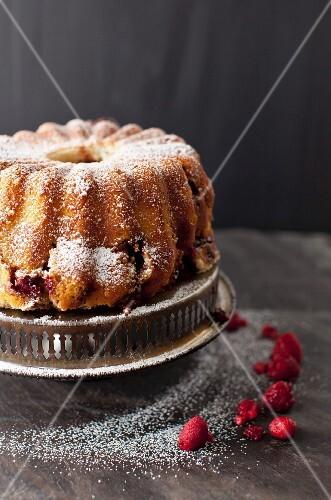 Raspberry Chocolate Coffee Cake Dusted with Powdered Sugar