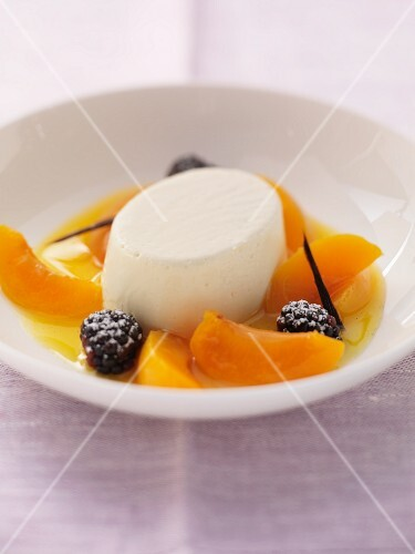 Marzipan dessert with apricots and blackberries