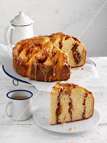 Almond and cinnamon rosette bread, sliced open