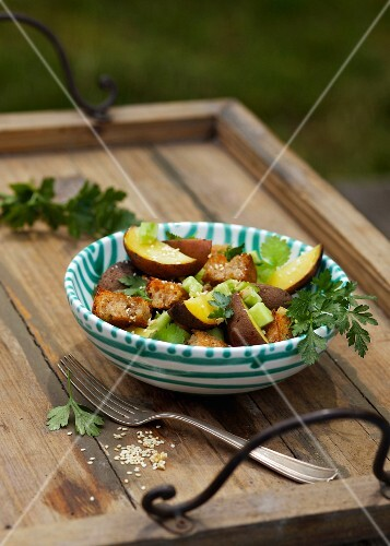 Smoked potato and bread salad with celery