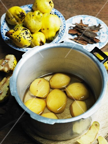 Quinces being poached