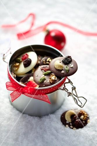 Christmas chocolate buttons